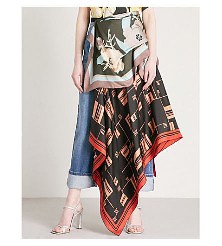 DRIES VAN NOTEN Sofiane asymmetric printed silk skirt (Green