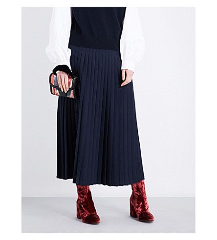DRIES VAN NOTEN Soyo pleated woven skirt (Navy