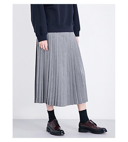 DRIES VAN NOTEN Soyo pleated jacquard skirt (Blue