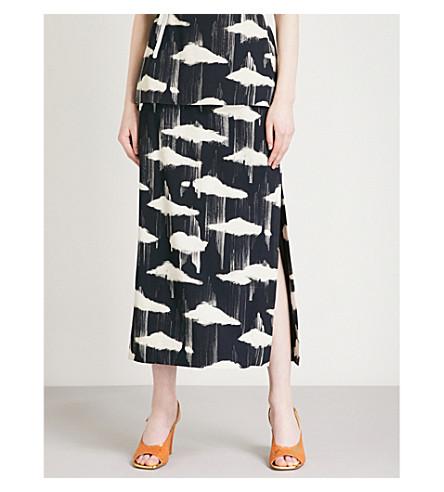 DRIES VAN NOTEN Stoica cloud-pattern crepe midi skirt (Black