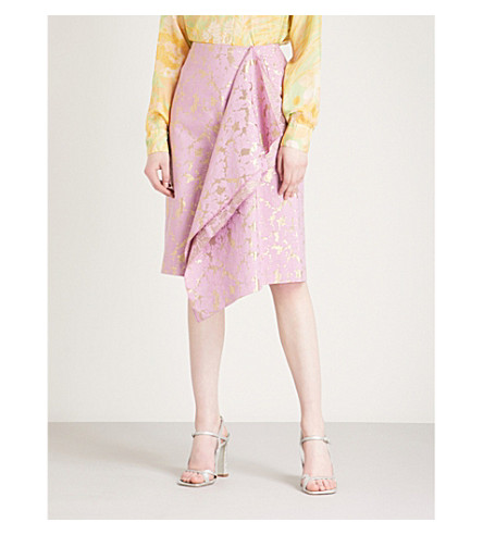 DRIES VAN NOTEN Sullivan metallic jacquard skirt (Pink