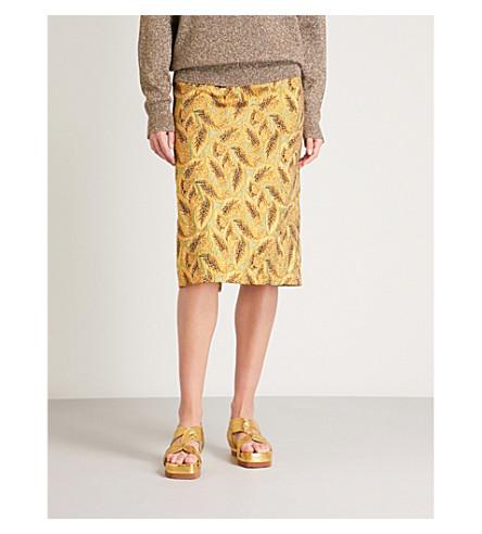 DRIES VAN NOTEN Metallic jacquard midi skirt (Gold