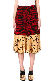 DRIES VAN NOTEN Tiger panel silk skirt