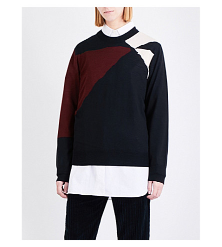 DRIES VAN NOTEN Tabby geometric wool jumper (Black