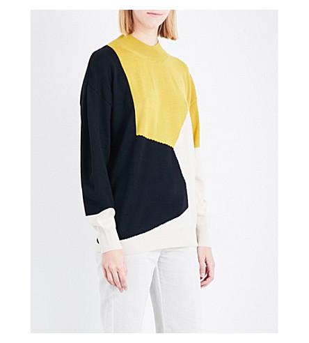 DRIES VAN NOTEN Tacey geometric wool jumper (Ecru