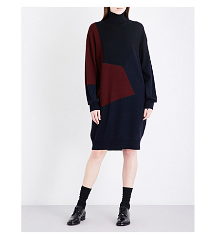 DRIES VAN NOTEN Tajine turtleneck wool dress (Navy