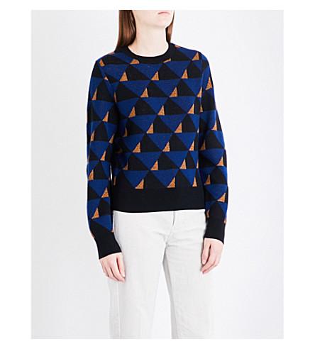 DRIES VAN NOTEN Tamara geometric wool jumper (Blue