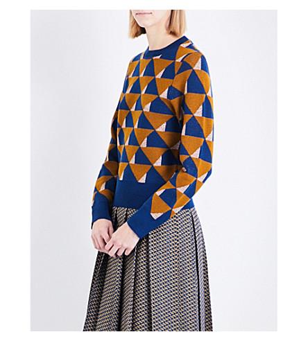DRIES VAN NOTEN Tamara geometric wool jumper (Ocra