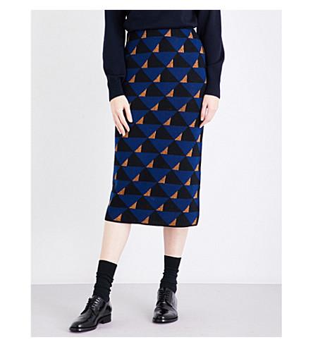 DRIES VAN NOTEN Tameron high-rise wool-blend skirt (Blue