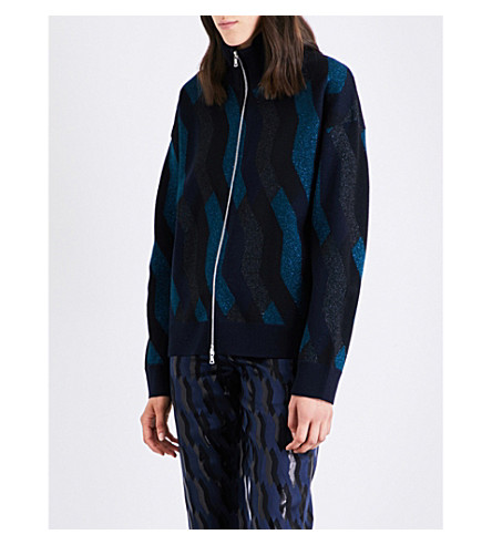DRIES VAN NOTEN Tamara geometric wool-blend knitted jacket (Nay
