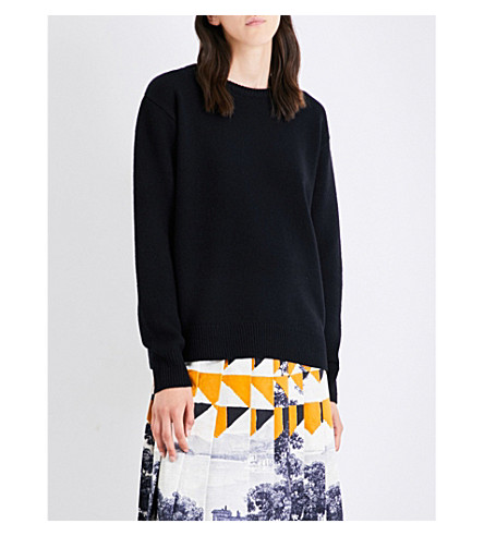 DRIES VAN NOTEN Oversized wool and cashmere-blend jumper (Black
