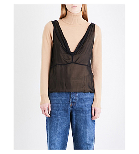 DRIES VAN NOTEN Tilabis cashmere and silk-georgette turtleneck jumper (Camel
