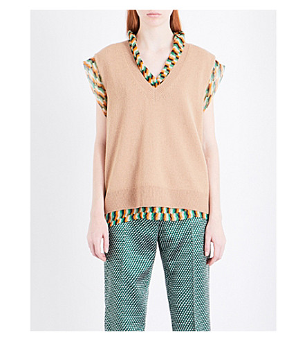 DRIES VAN NOTEN Timeus wool and silk top (Camel