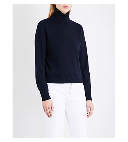 DRIES VAN NOTEN Tinka turtleneck merino wool jumper (Navy