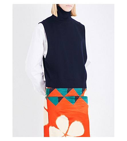 DRIES VAN NOTEN Tirze sleeveless knitted wool top (Navy
