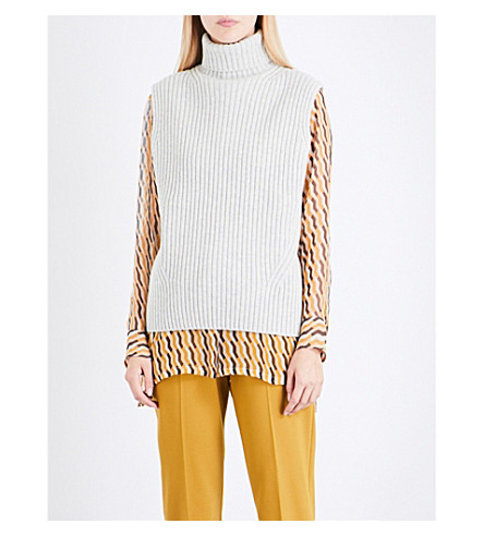 DRIES VAN NOTEN Tisha turtleneck sleeveless wool top (Cement