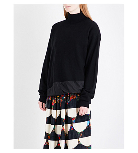 DRIES VAN NOTEN Tixiara cashmere and silk-georgette turtleneck jumper (Black