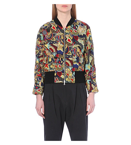 DRIES VAN NOTEN Embellished silk-blend jacket (Green