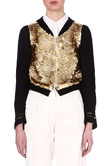 DRIES VAN NOTEN Sequin-embellished bomber jacket