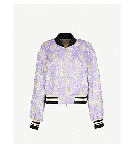 DRIES VAN NOTEN Floral-jacquard bomber jacket (Purple