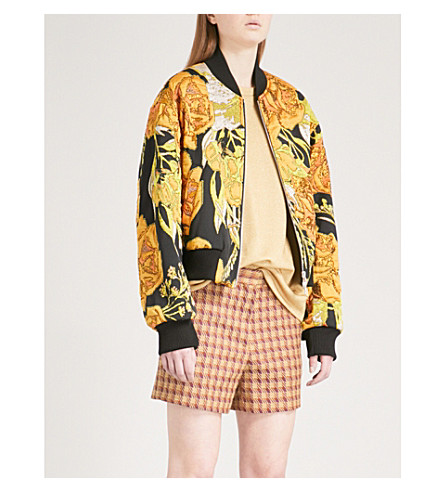 DRIES VAN NOTEN Floral-jacquard bomber jacket (Yellow