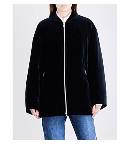 DRIES VAN NOTEN Volte cotton-velvet bomber jacket (Navy