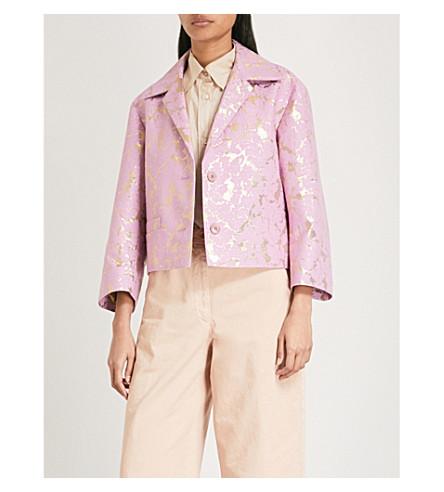 DRIES VAN NOTEN Volvi metallic-jacquard blazer (Pink