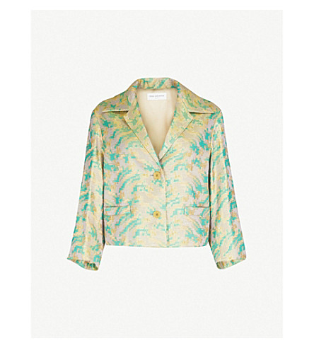 DRIES VAN NOTEN Cropped woven blazer (Green