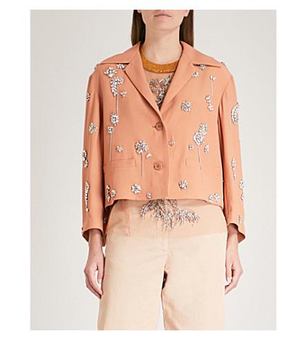 DRIES VAN NOTEN Volvi embellished crepe jacket (Blush