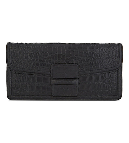 DRIES VAN NOTEN Crocodile-embossed leather clutch (Navy