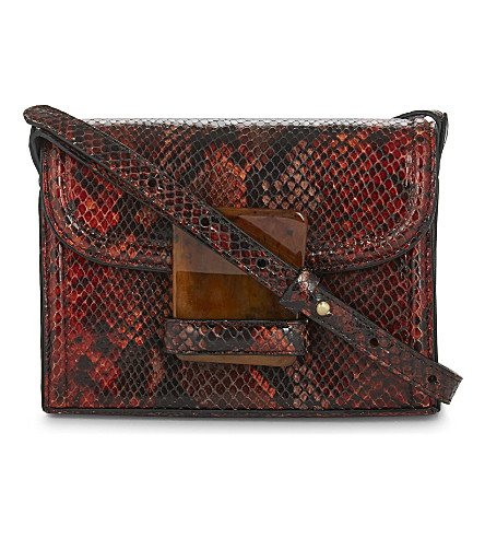 DRIES VAN NOTEN Snake-embossed leather cross-body bag (Rust