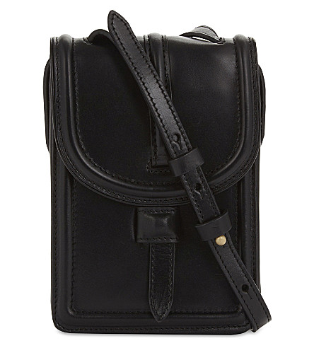 DRIES VAN NOTEN Mini leather shoulder bag (Black