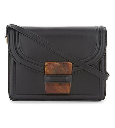 DRIES VAN NOTEN Smooth leather cross-body bag (Black