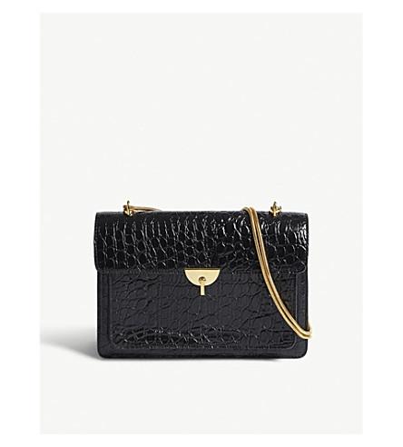 DRIES VAN NOTEN Python-embossed leather shoulder bag (Black