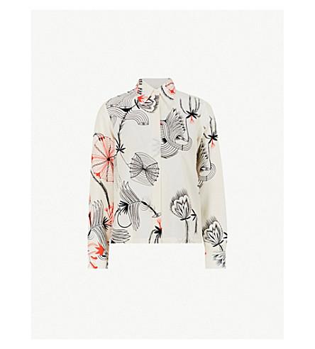 DRIES VAN NOTEN Graphic-print silk-crepe shirt (Ecru