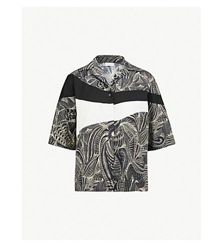 DRIES VAN NOTEN Printed cotton-poplin shirt (Black