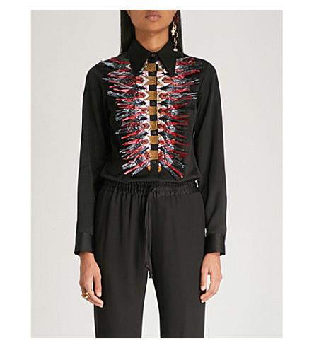DRIES VAN NOTEN Embellished placket satin shirt (Black