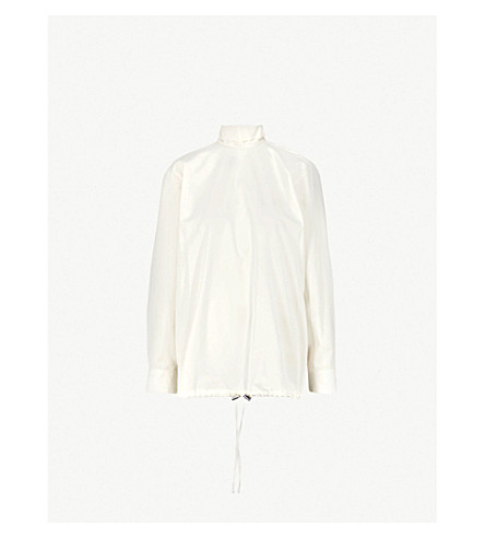 DRIES VAN NOTEN High-neck cotton top (Ecru