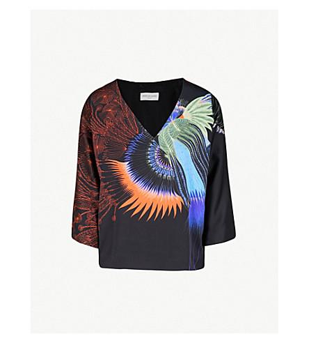 DRIES VAN NOTEN Peacock-print satin top (Black