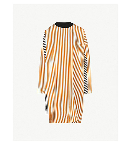 DRIES VAN NOTEN Striped cotton-poplin dress (Gold