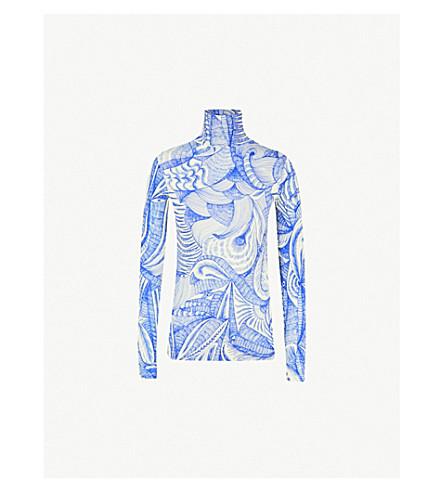 DRIES VAN NOTEN High-neck jersey top (Blue