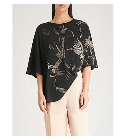 DRIES VAN NOTEN 刺绣平纹针织棉 T 恤 (黑 +/+ 奶油