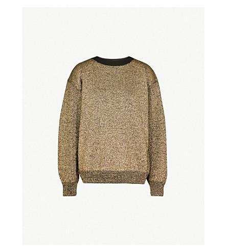 DRIES VAN NOTEN Metallic merino wool-blend jumper (Black