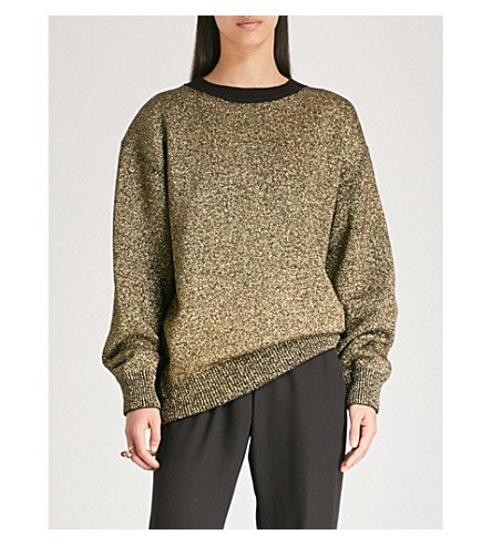 DRIES VAN NOTEN Metallic merino wool-blend jumper (Black