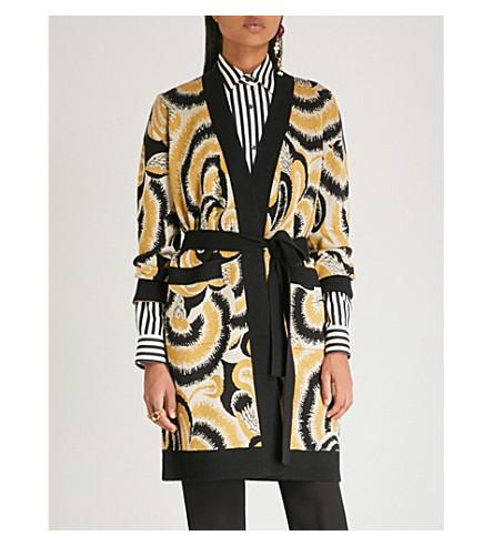 DRIES VAN NOTEN Abstract-print knitted cotton robe (Mustard