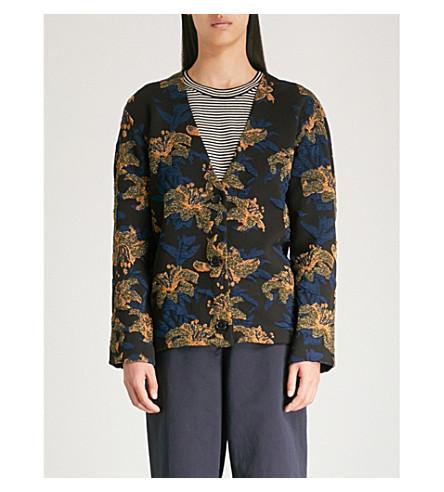 DRIES VAN NOTEN Leaf-embroidered jacquard cardigan (Black/gold