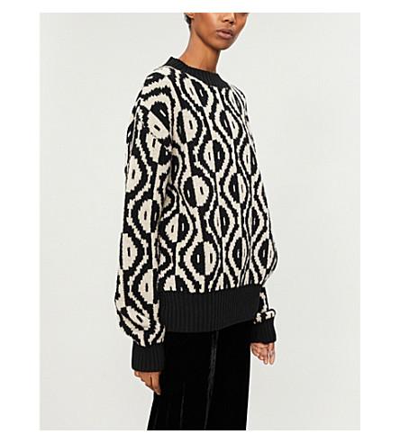 DRIES VAN NOTEN Geometric-pattern wool-blend jumper (Black