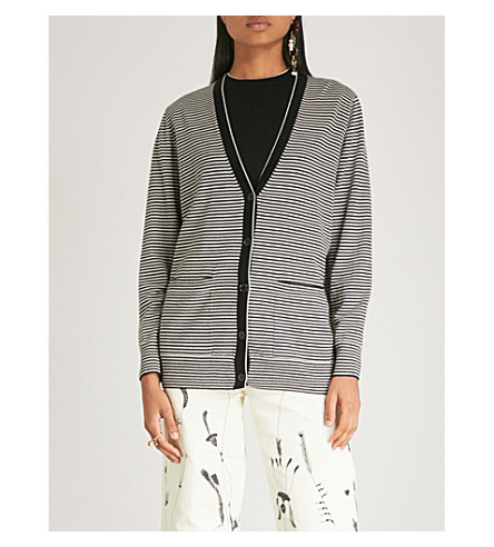 DRIES VAN NOTEN Striped wool cardigan (Black