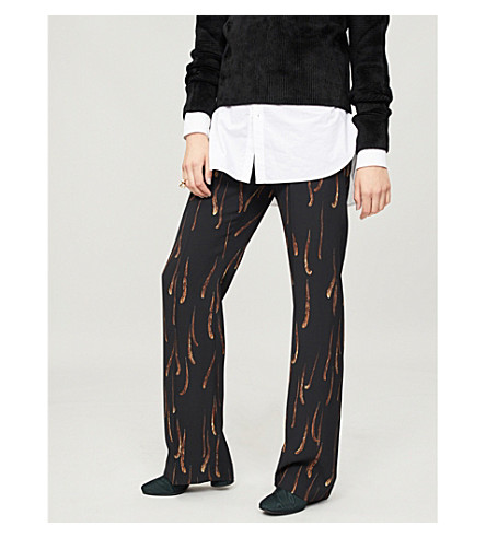 DRIES VAN NOTEN Feather-print crepe trousers (Black