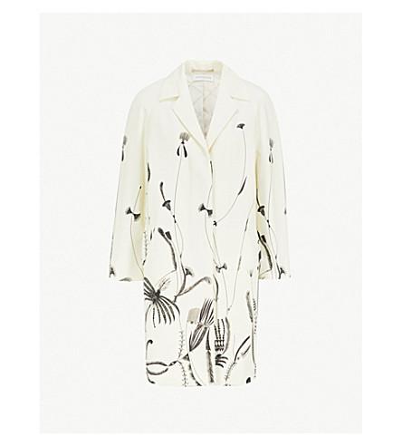 DRIES VAN NOTEN Floral-print cotton-twill cocoon coat (Ecru